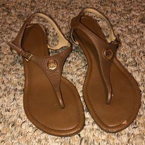 MK Michael Kors tan and gold sandals